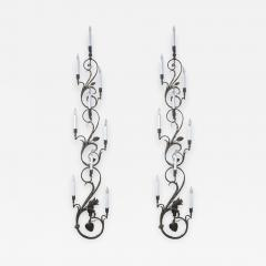 Pair of Wrought Iron Nine Light Candelabra Wall Sconces - 1167758