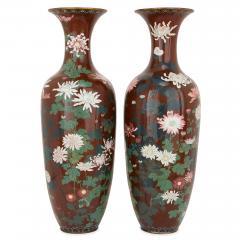 Pair of antique Meiji period Japanese cloisonne enamel vases - 2035743