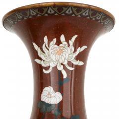 Pair of antique Meiji period Japanese cloisonne enamel vases - 2035744