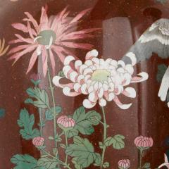 Pair of antique Meiji period Japanese cloisonne enamel vases - 2035746