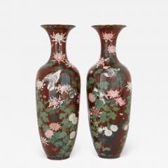 Pair of antique Meiji period Japanese cloisonne enamel vases - 2036529