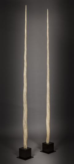 Pair of antique ornamental Narwhal marine tusks Monodon Monoceros - 1198710