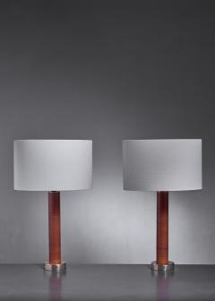 Pair of brass and leather table lamps - 1309928