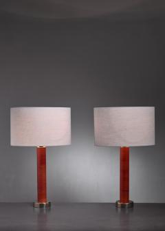 Pair of brass and leather table lamps - 1309929
