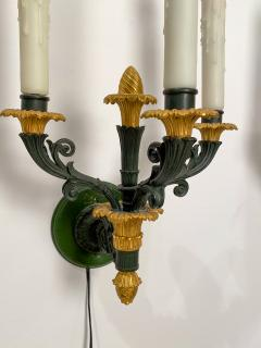 Pair of bronze and gilt bronze French Empire Style sconces circa 1920 - 1372705
