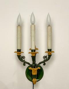 Pair of bronze and gilt bronze French Empire Style sconces circa 1920 - 1372706