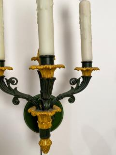 Pair of bronze and gilt bronze French Empire Style sconces circa 1920 - 1372707