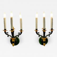 Pair of bronze and gilt bronze French Empire Style sconces circa 1920 - 1375142