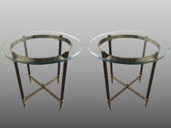 Pair of bronze pedestal tables with glass trays France 1960 - 1022879
