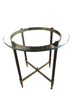 Pair of bronze pedestal tables with glass trays France 1960 - 1022881