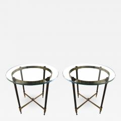 Pair of bronze pedestal tables with glass trays France 1960 - 1025593