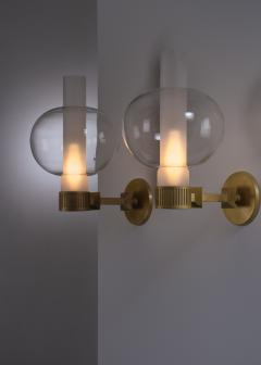 Pair of bronzed metal and glass wall lamps - 2012934