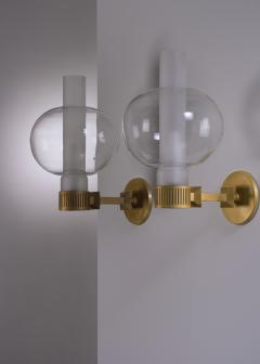Pair of bronzed metal and glass wall lamps - 2012935