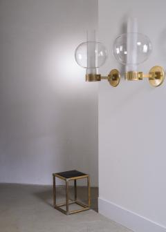 Pair of bronzed metal and glass wall lamps - 2012936