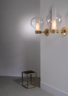 Pair of bronzed metal and glass wall lamps - 2012937