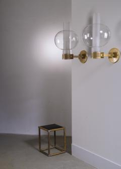 Pair of bronzed metal and glass wall lamps - 2012938