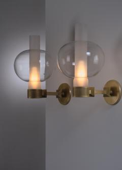 Pair of bronzed metal and glass wall lamps - 2012939