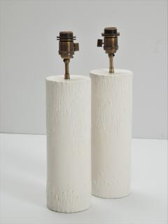 Pair of brutalist Bougies plaster lamps by Facto Atelier Paris France 2020 - 1843290
