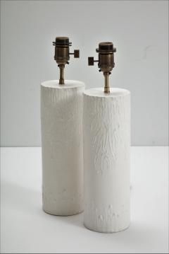 Pair of brutalist Bougies plaster lamps by Facto Atelier Paris France 2020 - 1843293