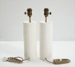 Pair of brutalist Bougies plaster lamps by Facto Atelier Paris France 2020 - 1843296