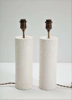 Pair of brutalist Bougies plaster lamps by Facto Atelier Paris France 2020 - 1843299