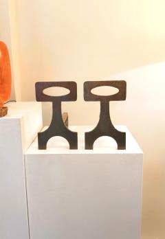 Pair of brutalist solid steel andirons France 1970s - 1023069