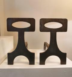 Pair of brutalist solid steel andirons France 1970s - 1023070