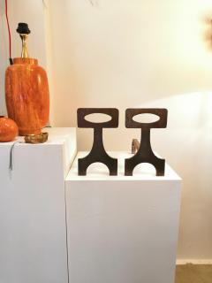 Pair of brutalist solid steel andirons France 1970s - 1023081
