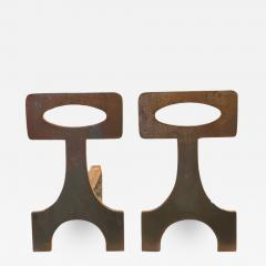 Pair of brutalist solid steel andirons France 1970s - 1023964