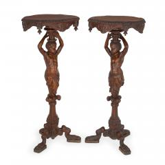 Pair of carved walnut antique Baroque style side tables - 1683201