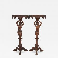 Pair of carved walnut antique Baroque style side tables - 1685099