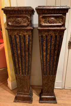 Pair of carved wood faux marbleized pedestals - 1034677