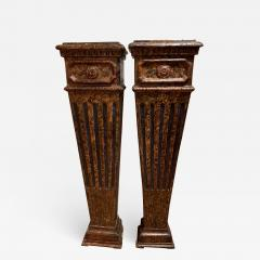 Pair of carved wood faux marbleized pedestals - 1035466