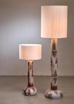 Pair of ceramic floor lamps with blue blossom like pattern - 1559511