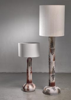Pair of ceramic floor lamps with blue blossom like pattern - 1559512