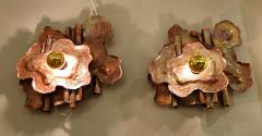 Pair of copper Mid Century Modern Brutalist sconces Italy 1970s - 1316523