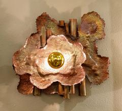 Pair of copper Mid Century Modern Brutalist sconces Italy 1970s - 1316524