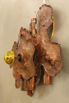 Pair of copper Mid Century Modern Brutalist sconces Italy 1970s - 1316525