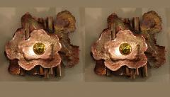 Pair of copper Mid Century Modern Brutalist sconces Italy 1970s - 1316529