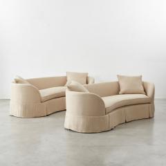 Pair of curved banana skirted sofas USA 1970s - 1563896
