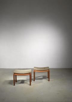 Pair of curved elm and fabric stools or ottomans - 1490795