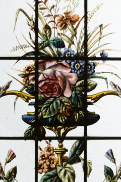 Pair of double stained glass windows and their transoms circa 1880 - 1205614