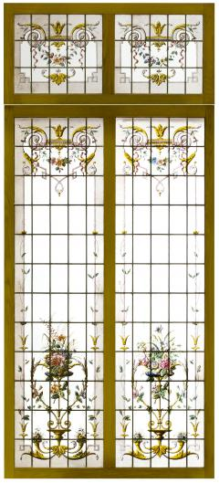 Pair of double stained glass windows and their transoms circa 1880 - 1205615