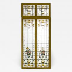 Pair of double stained glass windows and their transoms circa 1880 - 1206054