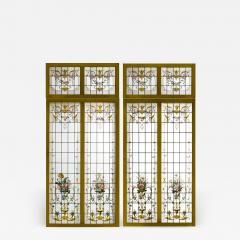 Pair of double stained glass windows and their transoms circa 1880 - 1206060