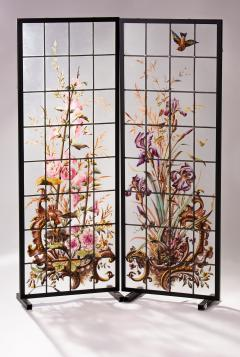 Pair of enameled stained glass panels France circa 1880 - 1460496