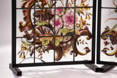 Pair of enameled stained glass panels France circa 1880 - 1460497