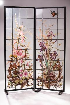 Pair of enameled stained glass panels France circa 1880 - 1460499