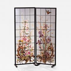 Pair of enameled stained glass panels France circa 1880 - 1462768