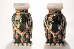 Pair of french hollywood regency Porcelain Elephant Decoration 1970s - 983432